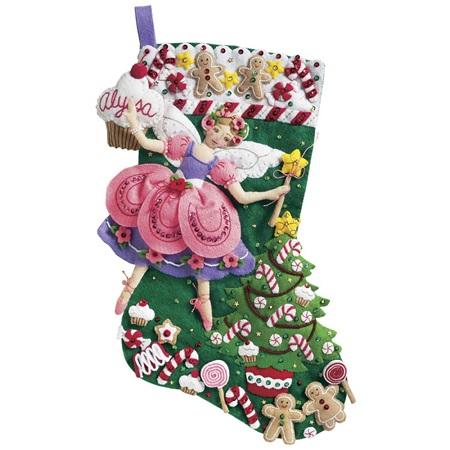 Bucilla 85431 Sugar Plum Fairy felt applique stocking