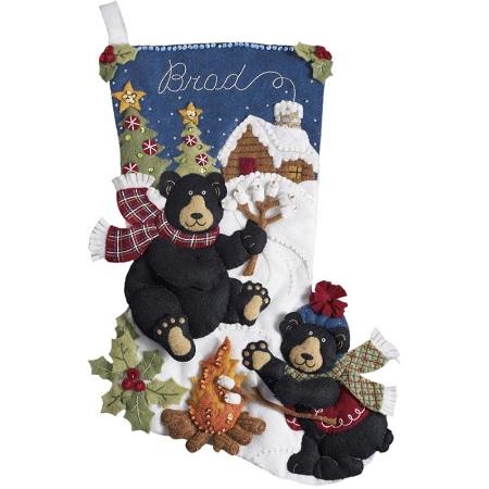 Bucilla 85467 Black Bear Bonfire felt applique stocking