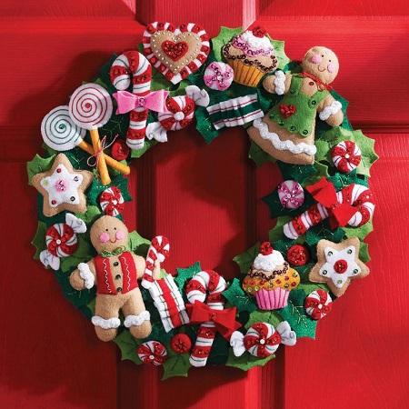 "Bucilla 86264 Cookies and Candy Felt Wreath Applique Kit 15"" Round"