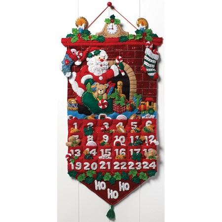 "Bucilla Advent Calendar 86312 Felt Applique Kit 13""X25"""