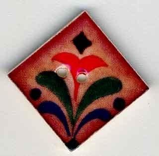 Red Flower on Terracotta-87014-Jim Shore buttons