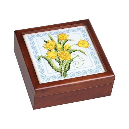 Sudberry House Mahogany Finish Simple Square Box 7X7X2-3/4,99731