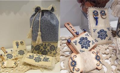 Blue Elegance Sewing bag (chart, handpainted wood rings, & handpainted wood lace keeper) MDD-BESB by Mani di Donna