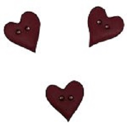 Stoney Creek - Button Pack - Dark Red Plain Folk Heart, Small (Set of 3)
