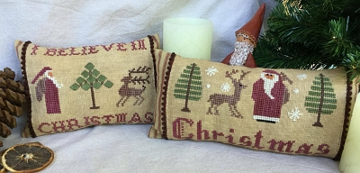 Christmas Pillows 1 Christmas & I Believe MDD-CP1 by Mani di Donna