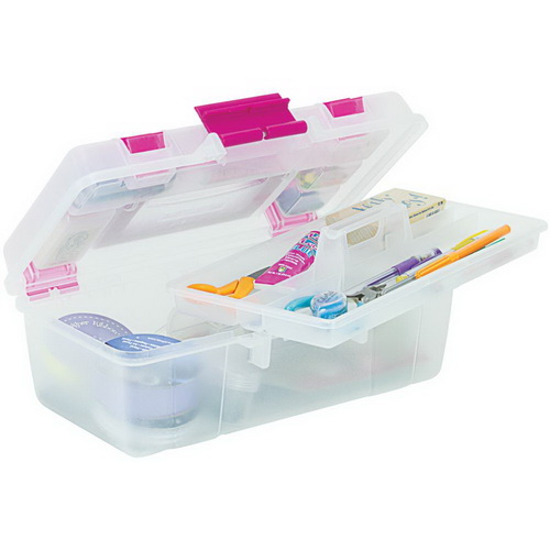 Creative Options Tool Box Organizer Clear W/Magenta