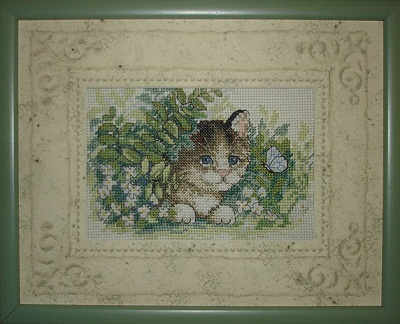 Kitten and Butterfly -stitched design