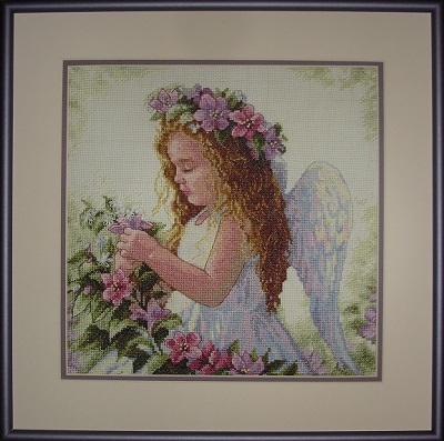 Passion flower angel stitched design