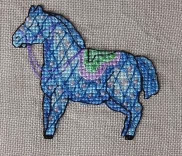 Blue horse-Nine Horses Galore-by Madame Needle