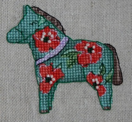 Red flowers Horse-Nine Horses Galore-by Madame Needle