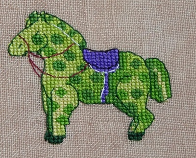 Green Horse-Nine Horses Galore-by Madame Needle