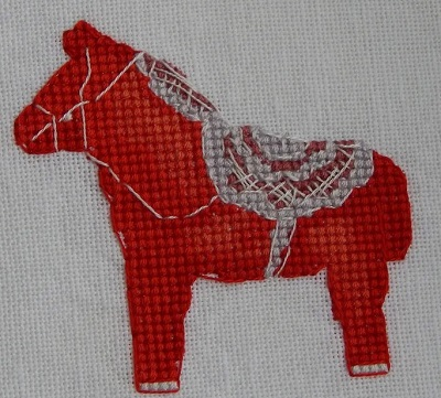 Red Horse with lace saddle-Nine Horses Galore by Madame Needle