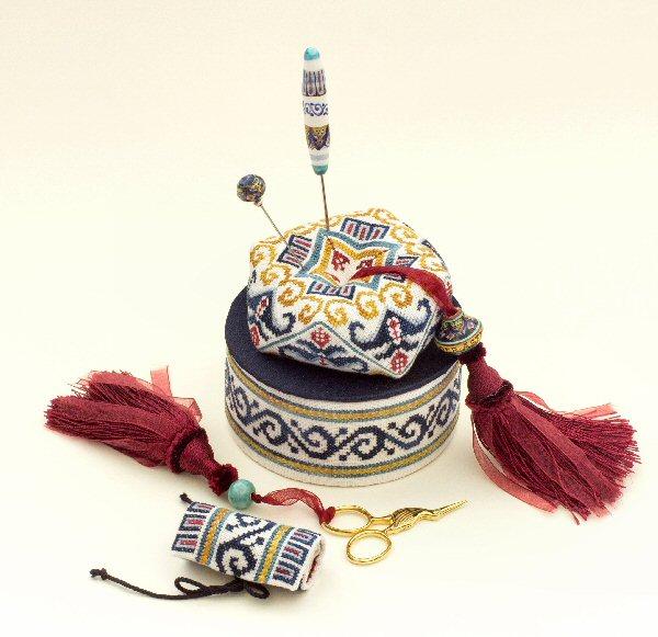 Deruta Biscornu Sewing Box- A collaboration Design with Mani di Donna Designs and GPA