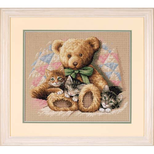 Teddy and Kittens-35236- by Dimensions