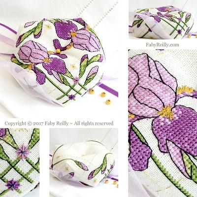 Faby Reilly Designs Purple Iris Biscornu