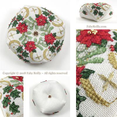 Sparkly Christmas Biscornu by Faby Reilly