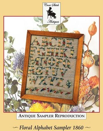 Cross Stitch Antiques Floral Alphabet Sampler 1860