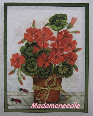 Geranium -printed panel by Di van Niekerk