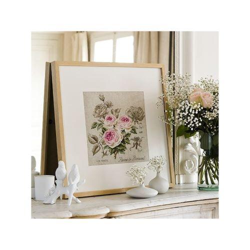 Les Brodeuses Parisiennes - Linen rose study «Pierre de Ronsard» (maxi-pattern)