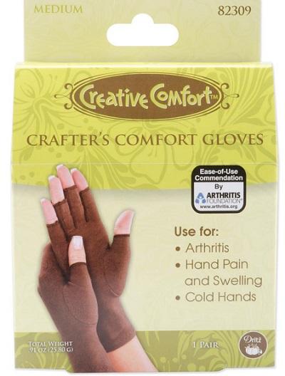 Creative Comfort Crafter's Comfort Gloves 1 Pair-Medium-by Dritz