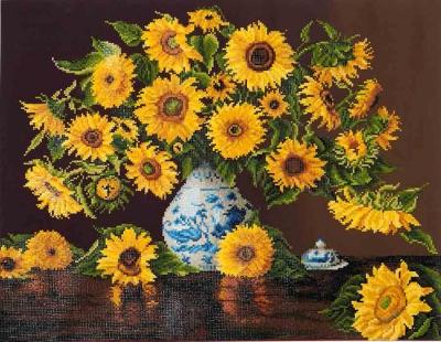 Sunflowers in China Vase by Diamond Dotz