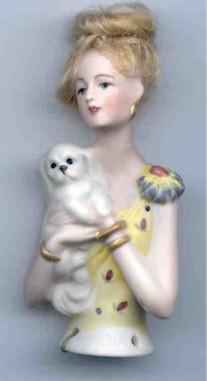 PORCELAINE HALF DOLL-NORMA & DOG
