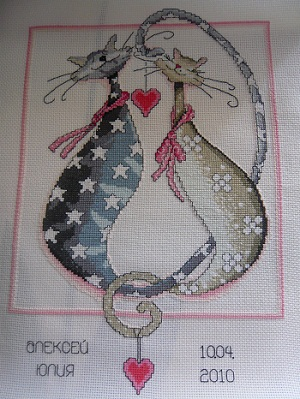 Purrfect together by Design Works-stitched design