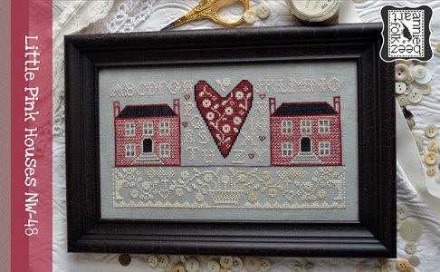 NW-48 Little Pink Houses by Annie Beez Folk Art