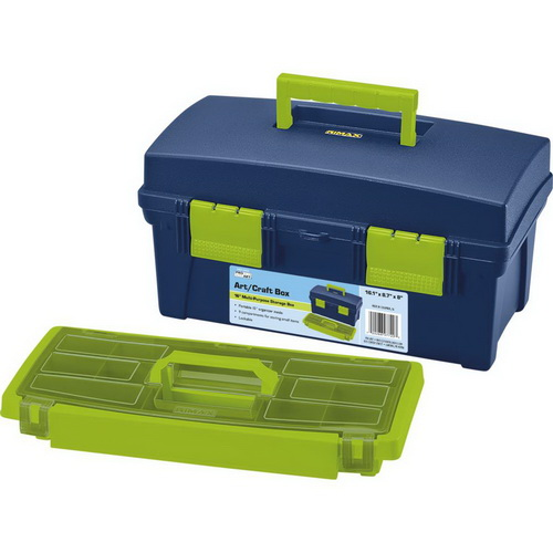 Pro Art Storage Box W/Lift-Out Organizer Tray Blue & Green
