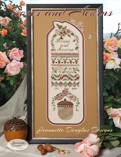 Jeannette Douglas Designs Roses and Acorns sampler