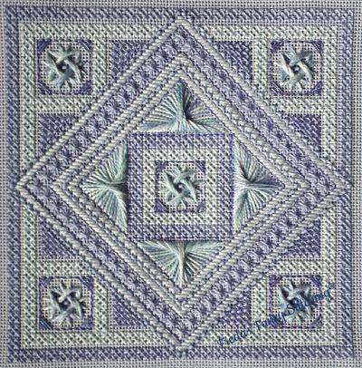 Freda's Fancy Stitching Subtlety in Blue