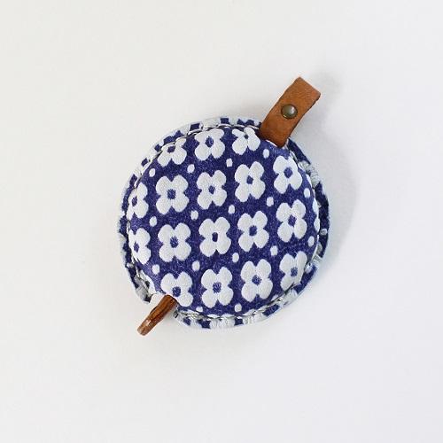 Tape Measure of Yuzen Leather (Blue)