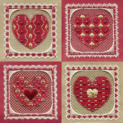 Valentines ornaments by Laura J Perin Designs