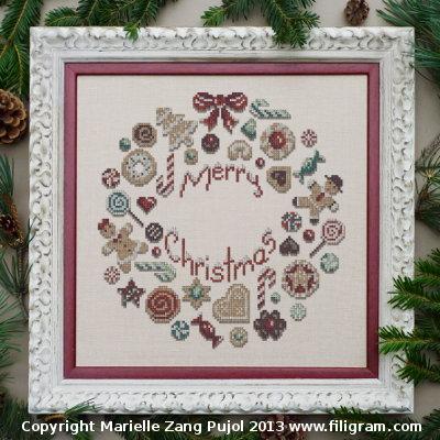 Filigram Cookies Christmas wreath,A73