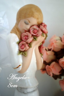 PORCELAINE HALF DOLL-ANGELA