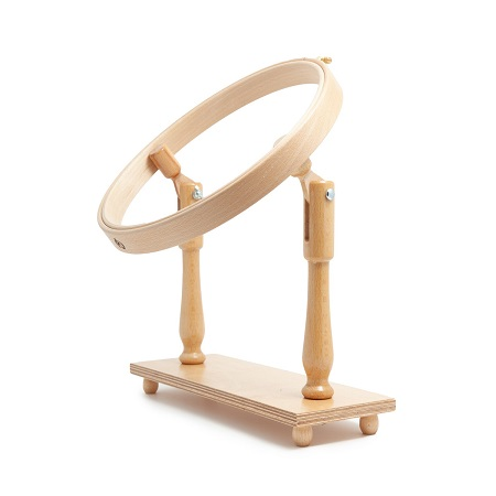 Tambour Hoop Stand with Round Wooden Embroidery Hoop - 7/8 x 10