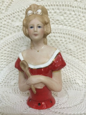 PORCELAINE HALF DOLL-ANDREA WITH STICK