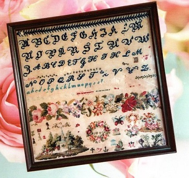 Cross Stitch Antiques Band of Roses 1845 Antique Reproduction