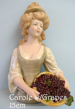 HALF PORCELAINE DOLL- Carol with Grapes