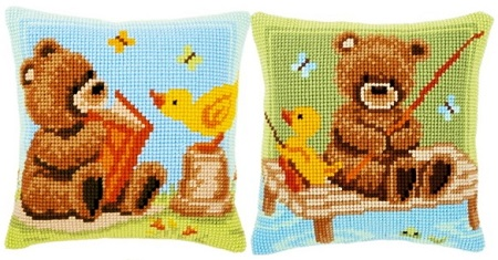 Teddy bears cushions collage by Vervaco