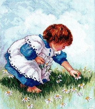 Collecting daisies by Janlynn
