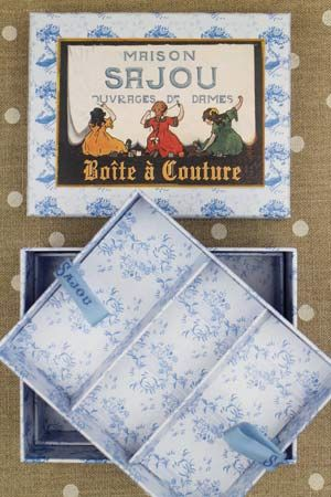 Empty vintage sewing box Sajou's little girls by Sajou