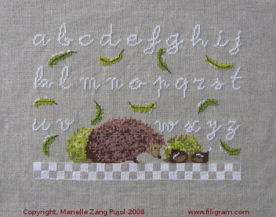 Lower case ABC tiny hedgehog,A11,Filigram