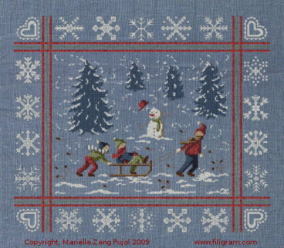 Filigram Sledding day and snowflakes,A22