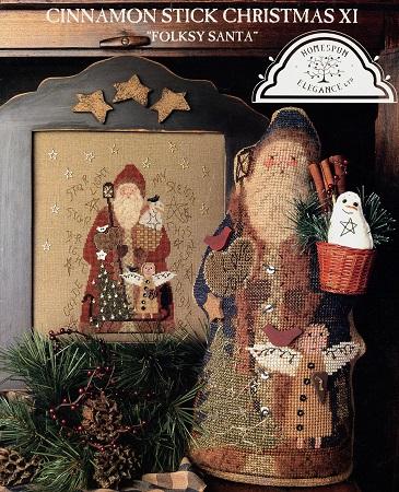 Homespun Elegance Cinnamon Stick Santa XI  Folksy Santa