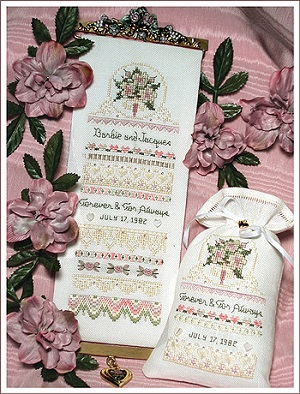 Forever and For Always Wedding Sampler and Sachet by The Victoria Sampler