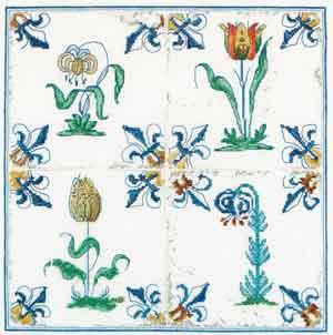 Antique Tiles - Flowers by Thea Gouverneur