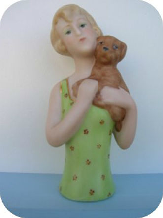 PORCELAIN HALF DOLL Lady with brown dog