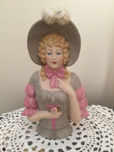 PORCELAIN HALF DOLL Rococo lady