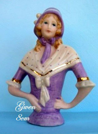 PORCELAIN HALF DOLL Gwen in Purple